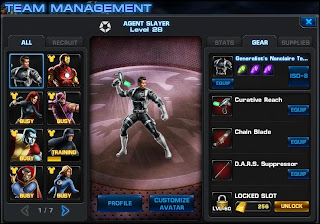 marvel avengers alliance team management screen