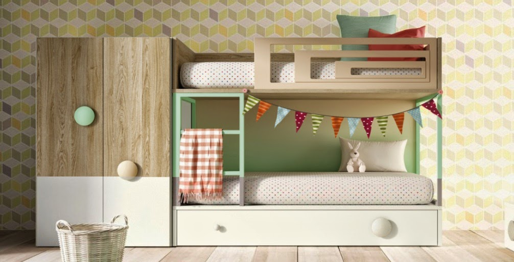 Dormitorios juveniles para dos hermanos - 3 camas en poco espacio ...