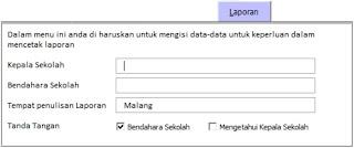 Pengisian data pada laporan