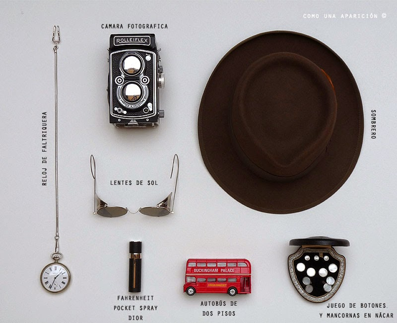 como-una-aparicioón-objetos-vintage-leontina-reloj-watch-sunglasses-collection-cars-toys-nacar-camera-nacar-cufflinks-fahrenheit-Dior-pocket-spary-hat