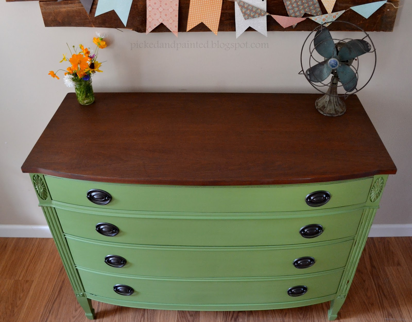 green painted furniture. Helen Nichole Designs. Furniture Made Pretty Green Painted