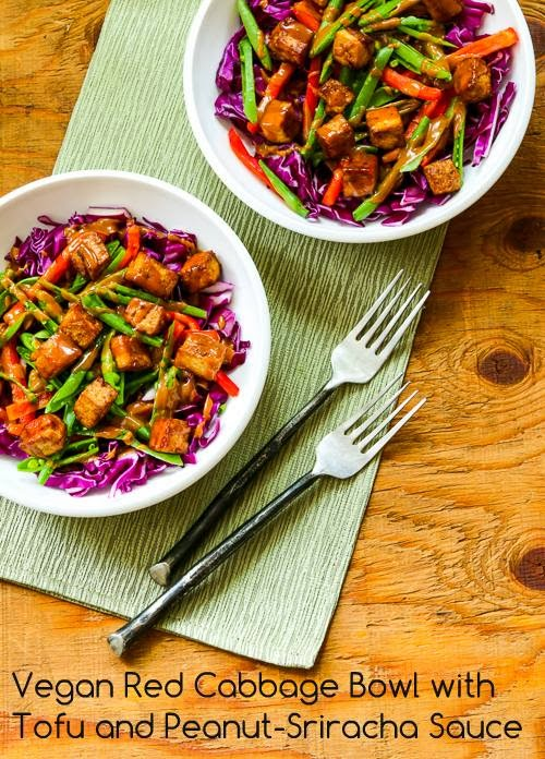 Vegan Red Cabbage Bowl with Tofu and Peanut-Sriracha Sauce