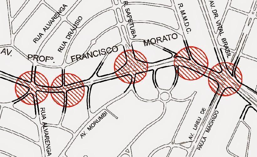 Mapa com locais de implantação da sinalização Frente Segura
