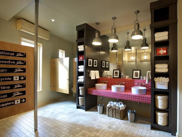 Ski Dorm Bathroom Designed To Accommodate A Large Crowd Of