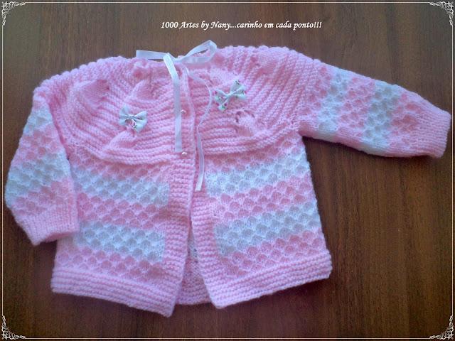 Pembe/Beyaz kız bebek hırkası modeli
