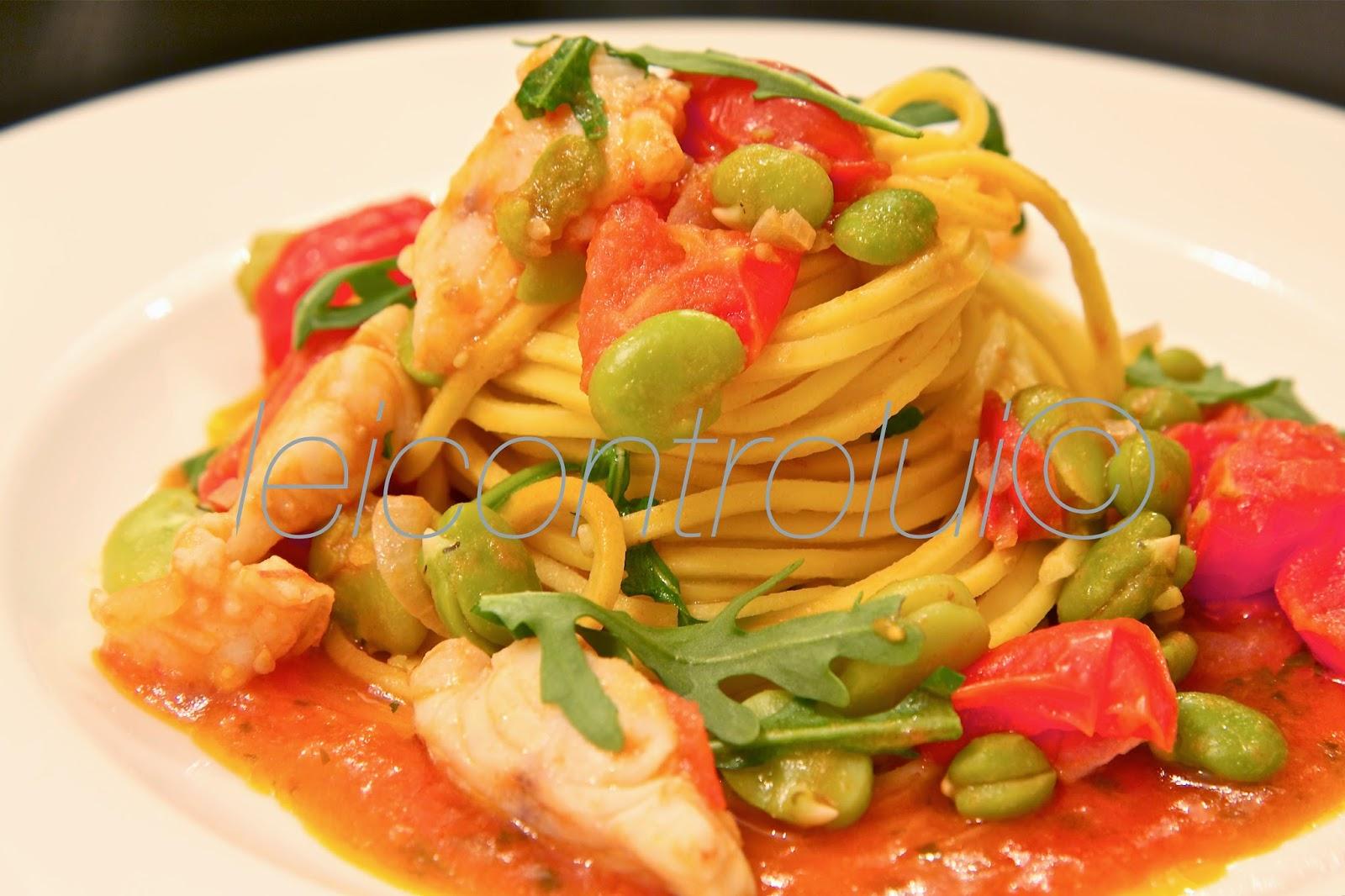 lei: spaghetti alla chitarra con fave e gallinella