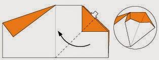 Bước 6: Từ vị trí mũi tên mở tờ giấy và kéo, gấp sang phía bên trái.