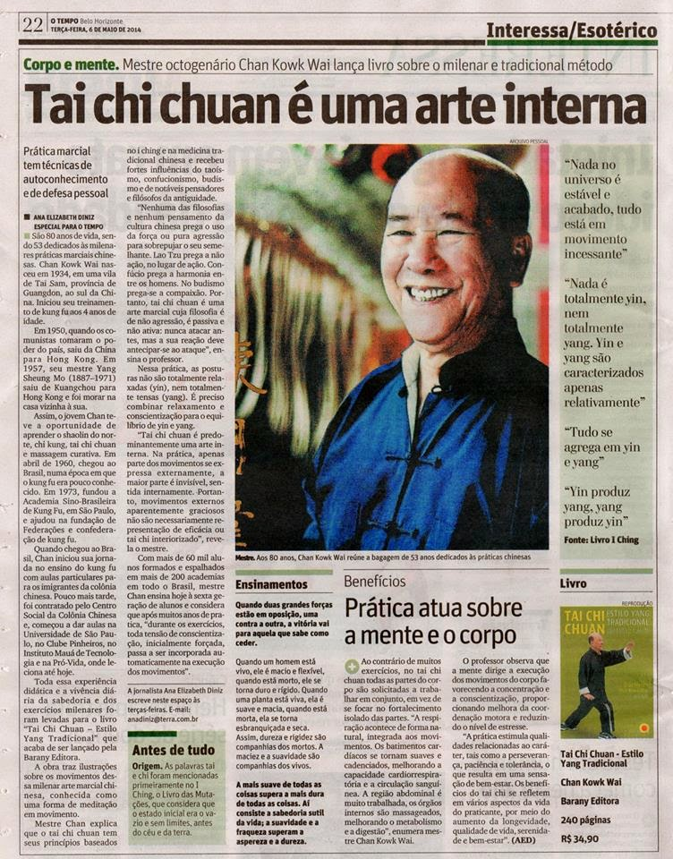 Grão-Mestre Chan Kowk Wai no jornal O Tempo
