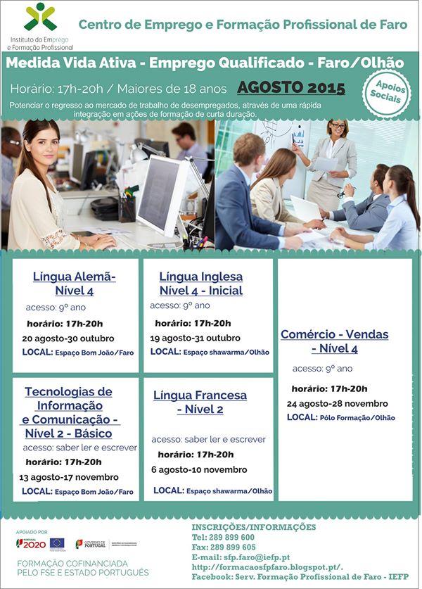 Cursos financiados VIDA ATIVA em Olhão e Faro