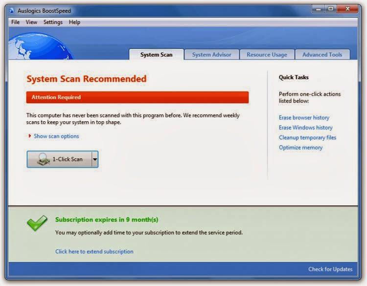 صورة من برنامج تسريع الكمبيوتر AusLogics Boostspeed