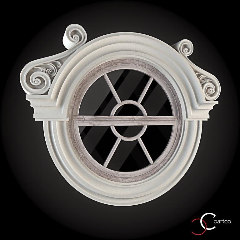 Ornameate Geamuri Rotunde Exterior, fatade case cu profile decorative polistiren, profile fatada,  Model Cod: WIN-080