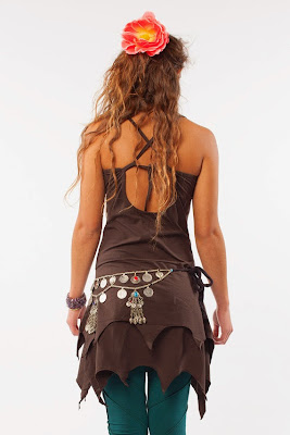 ORGANIC PIXIE DRESS - coffee - psy trance tribal elf boho cotton fairy hippy tatty hem