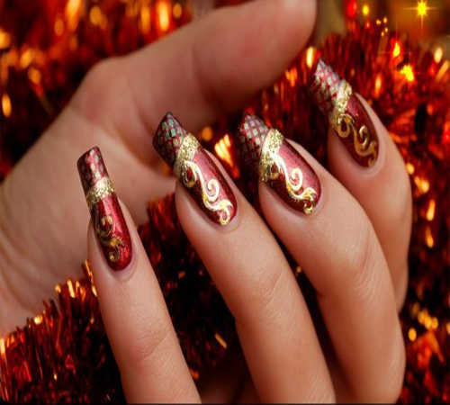 Maroon Nail Art with Golden Flowers