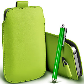 GREEN PULL TAB LEATHER POUCH SKIN COVER &STYLUS PEN FOR HUAWEI U8800 IDEOS X5