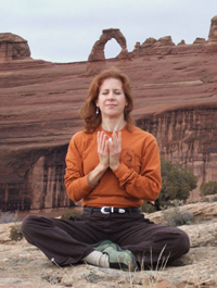 Sukasana, Easy cross legged posture. Yoga with Lucy Ann Clark, RYT
