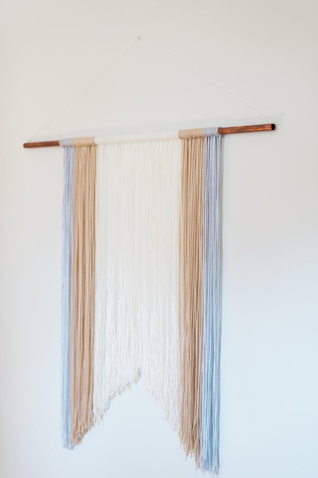 Modern jane diy yarn wall hanging for Yarn wall hanging
