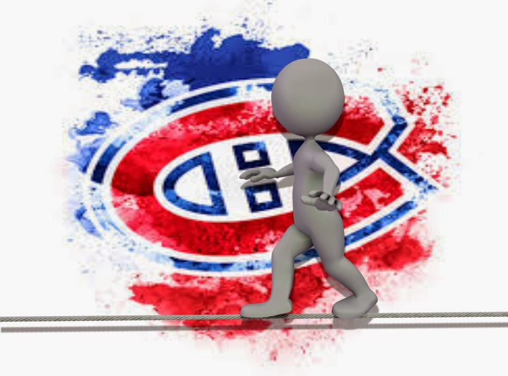 A stick figure walks a tightrope against the background of the Habs logo