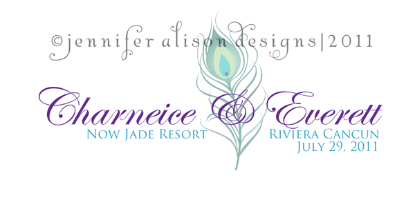 Charneice Everett peacock feather wedding logo monograms