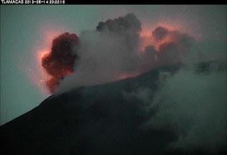 Imagen de la Erupción del volcán Popocatépetl el 14 de mayo de 2013