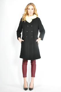 Vintage 1960's black wool mod princess coat with white mink fur trim.