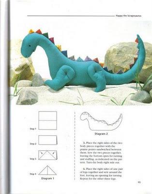 dinossauro em tecido com PAP (DIY) e molde