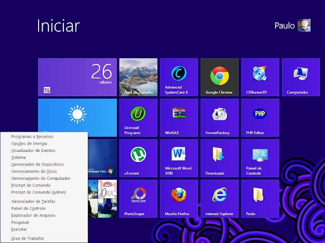 Menu de acesso rápido Windows 8 do Paulo Rocha