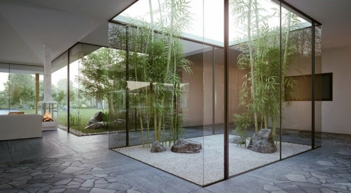 Bamboo trees integrated in a modern house