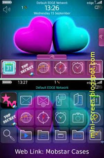 3D Hearts Animated with Hidden Dock Free Blackberry Theme