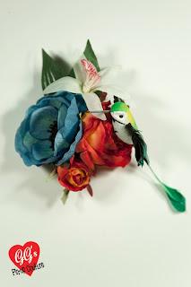 rockabilly hair flower bridal pinup hummingbird orange vintage gg's