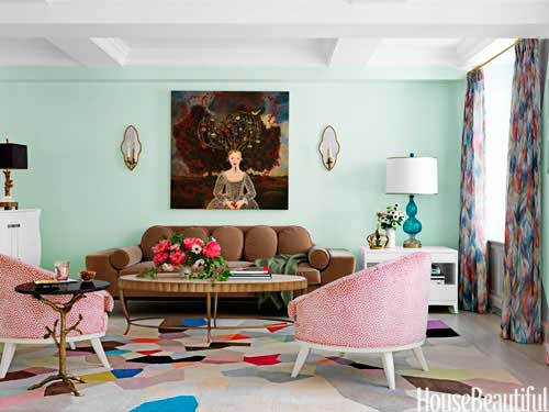 Mint green walls, colorful, bright, cheery, eclectic design