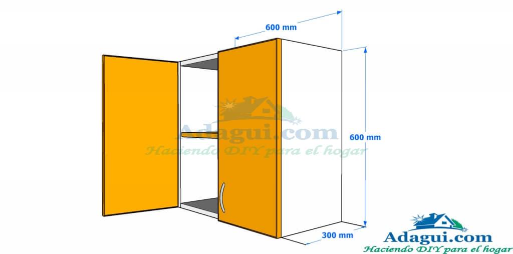 Plano y dise o con medidas mueble alto de cocina melamina for Planos para fabricar cocinas integrales