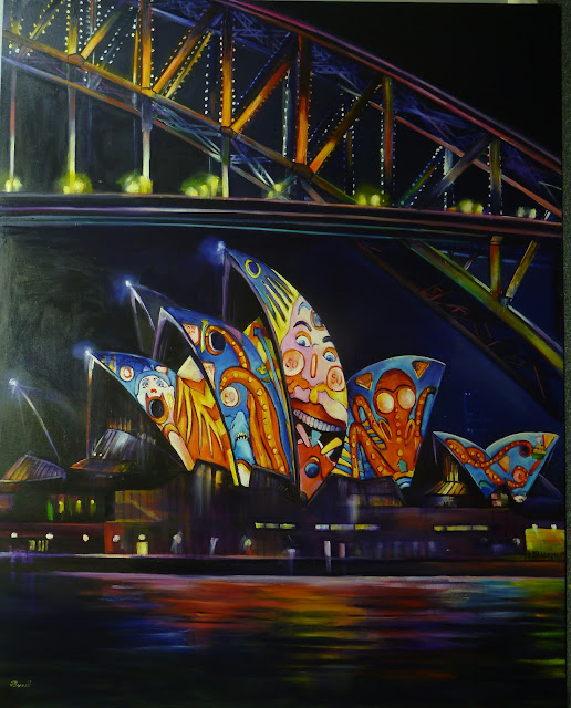 Oil Painting inspired by Vivid festival- Nocturne of Sydney Harbour Bridge  & Lighting the sails of the Sydney Opera House painted by artist Jane Bennett