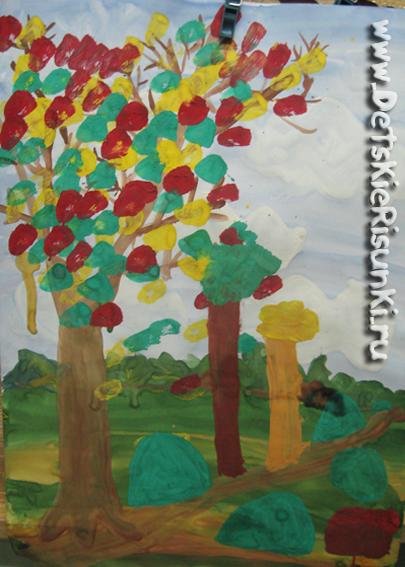 детские рисунки осень пейзаж