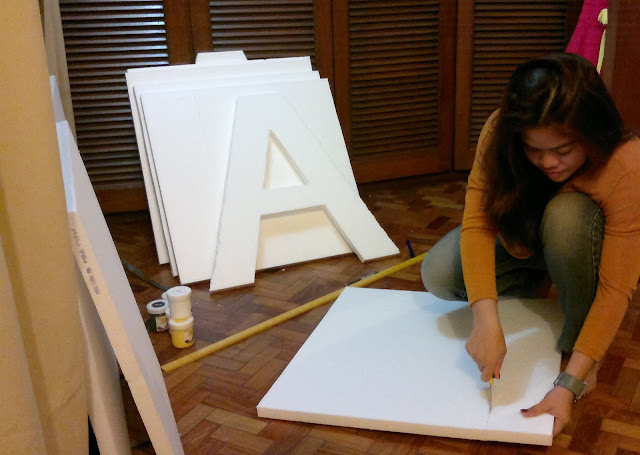 DIY Letter Standees Using Styrofoam and Acrylic Paint