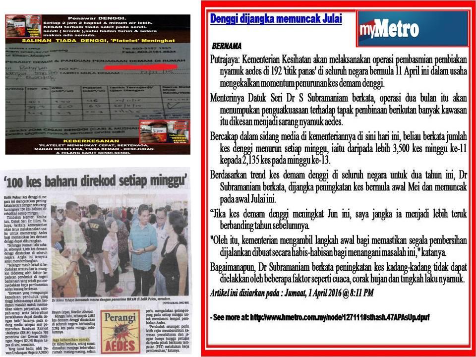 WAJIB BACA. Kementerian Kesihatan Malaysia. Denggi seawal Mei dan memuncak pada Julai 2016.