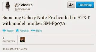 Samsung Galaxy Note Pro headed to AT&T, @evleaks added more flavor