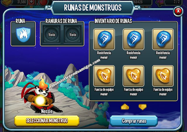 imagen del centro de runas de monsters legends