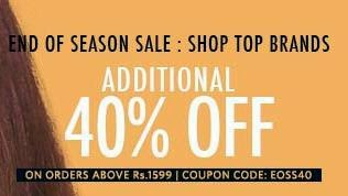 Happy Hour Sale: Upto 70% Off + Extra 40% Off on Top Brand Clothing / Footwear & Accessories @ Myntra (For Today Only)