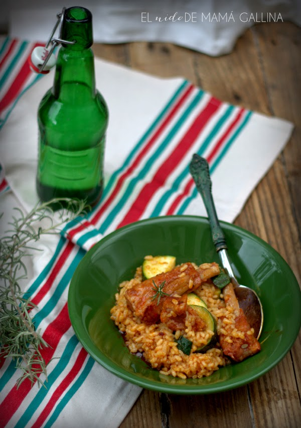 rib and zucchini rice