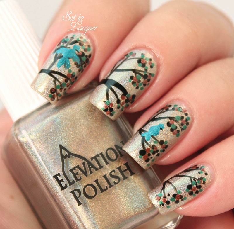 Bluebird in tree nail art