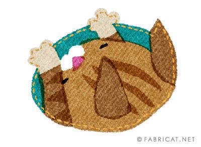 可愛い穴にハマった茶トラ 猫のイラスト