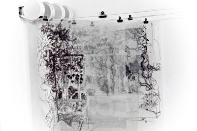 Contemporary drawing practices sally booth artist allerton towers 3 layered tansparent drawings made on location pen on acetate on hanging rail 127 cm x 91 com approx image source link here sciox Image collections