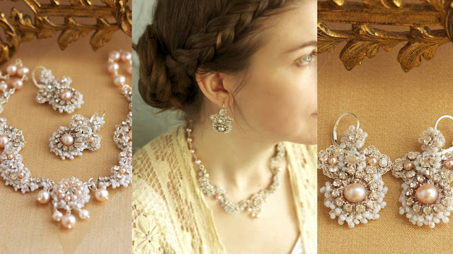 blush pink pearl dainty wedding earrings