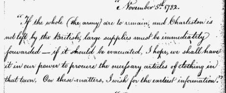 Benjamin Lincoln to Nathaniel Greene, 1782, on supplies