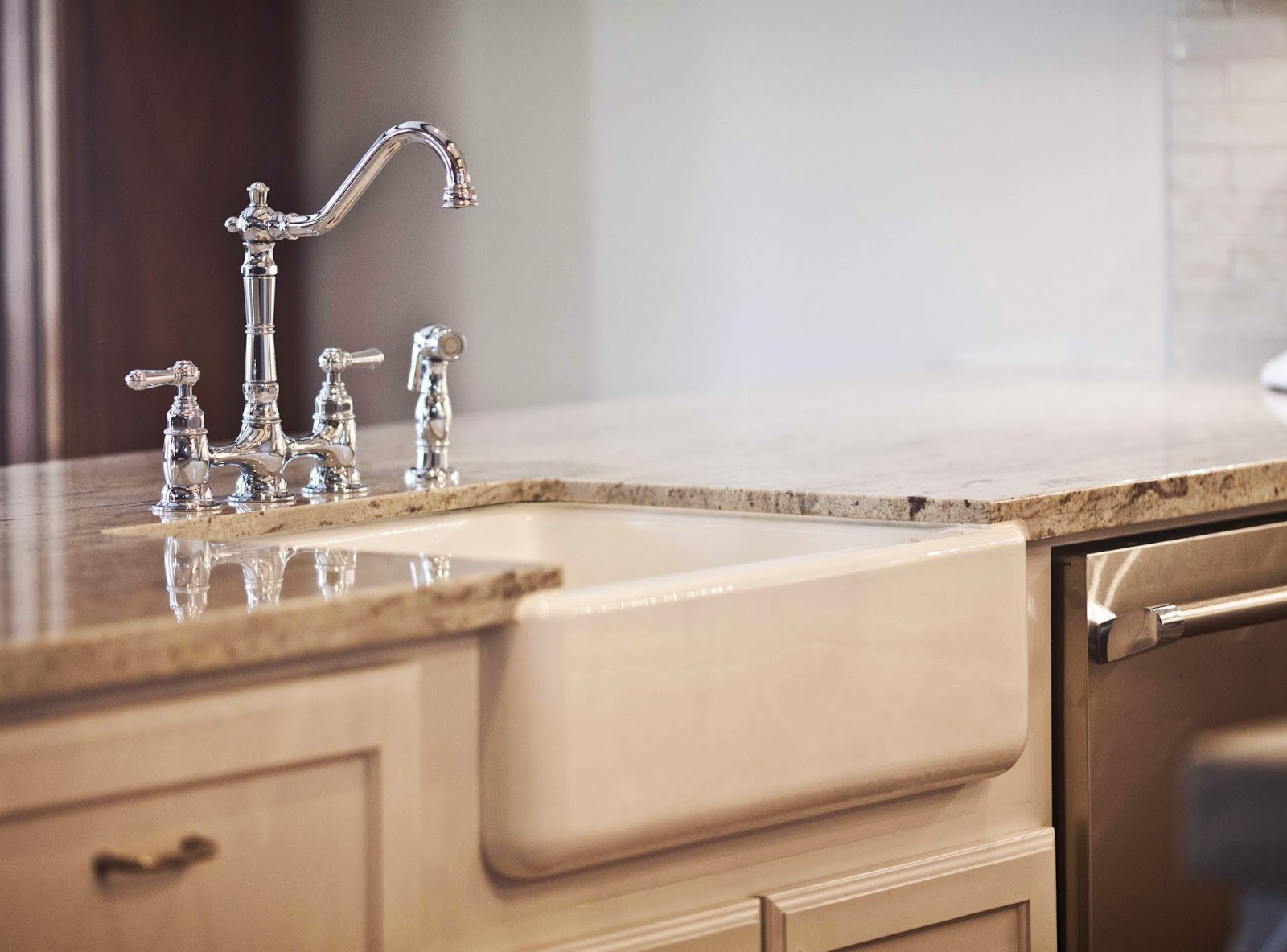Chrome faucet farmhouse sink Kitchen
