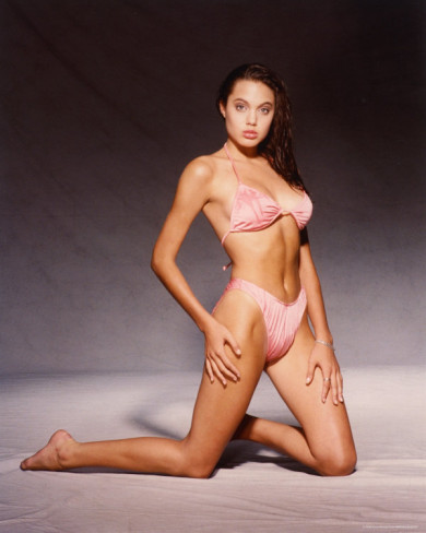 sexy Angelina Jolie as a 16-year-old swimsuit model