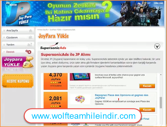 Wolfteam Joypara Nakit Hack 2014