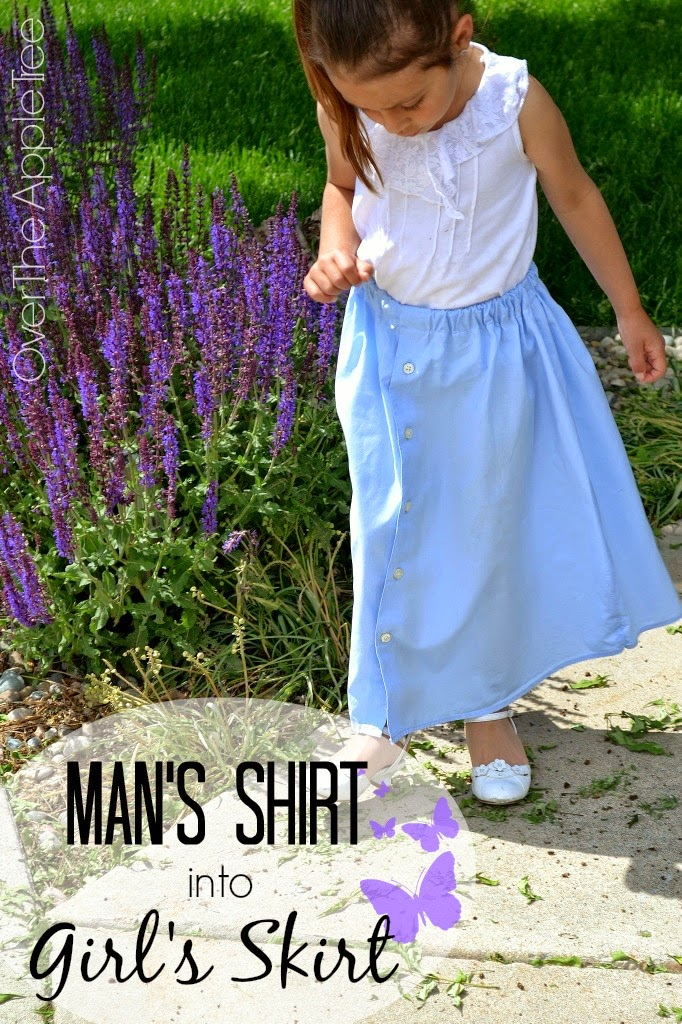 Turn a man's dress shirt into a little girl's skirt {Over The Apple Tree}