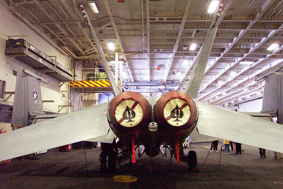 VF-41 Black Aces F-14 Tomcat in hanger bay