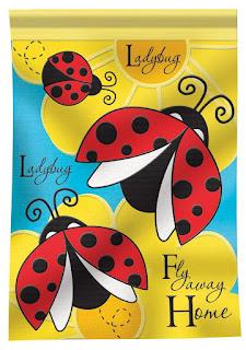 Ladybug Applique Garden Flag